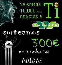 TWINNER - Twinner sortea 300 euros en productos Adidas para celebrar sus 10.000 seguidores en Facebook