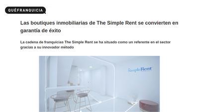 The Simple Rent Real Estate Agencies es la primera red de franquicias inmobiliarias con agencias boutiques y agentes online.