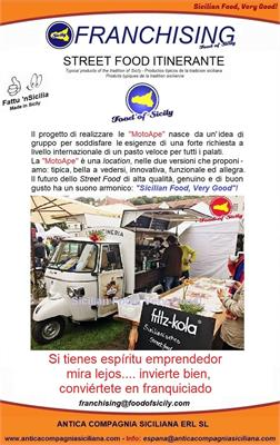 Franquicia de comida callejera siciliana (italiana), tienda fija y/o carro móvi para helados y granite.l.