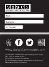 Siscu Las Boutiques del Pollo - Carnet Siscu VIP, fidelizamos clientes.