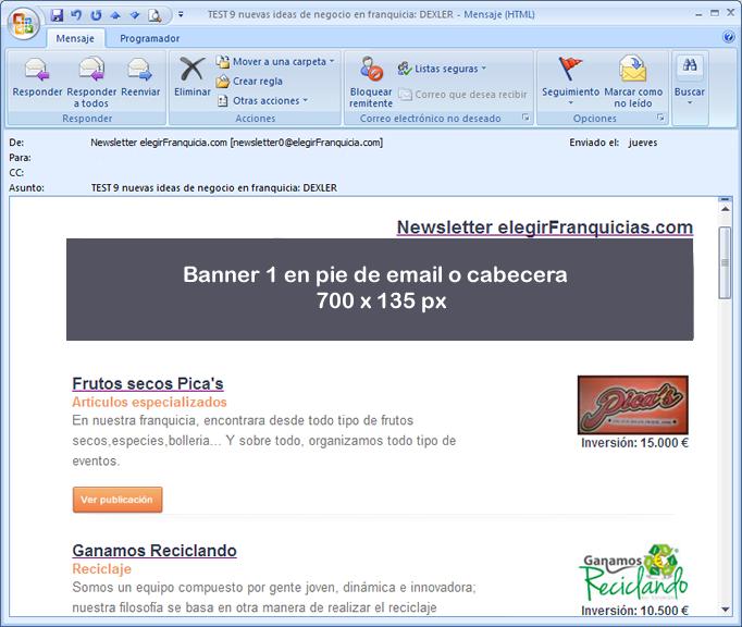 Formatos de banner boletines en  elegirfranquicia.com